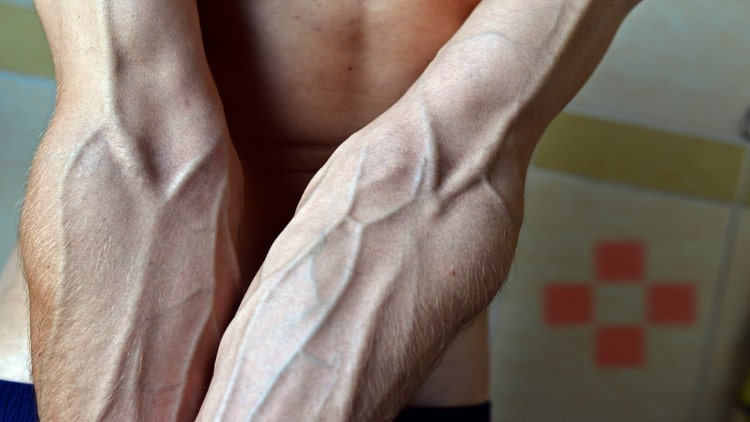 Close up of a man's forearm veins