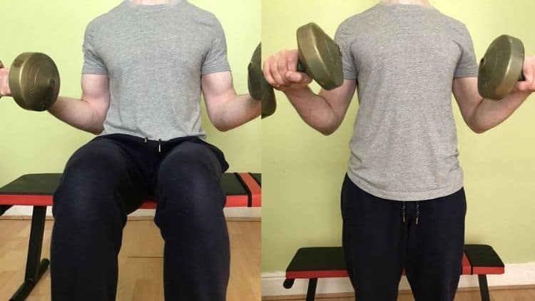 The start and end positions for the Zottman curl