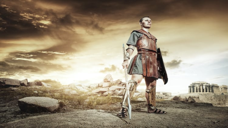 An Ancient Greek warrior holding a sword