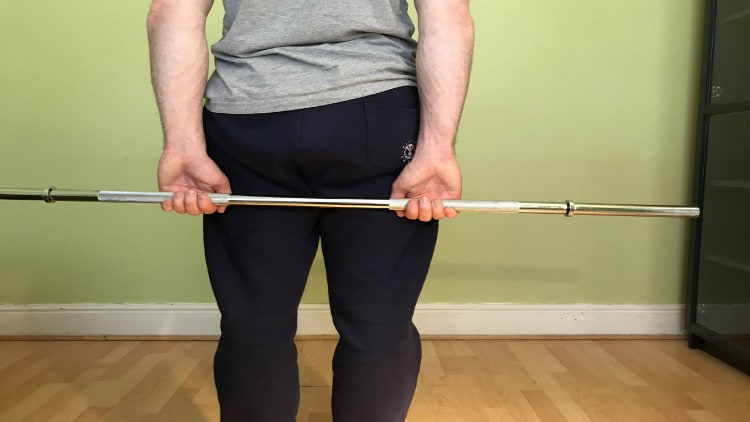 The grip for a behind the back forearm curl