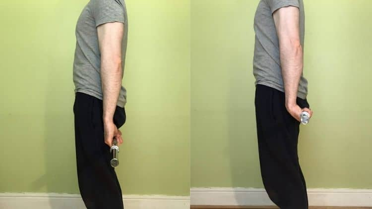A demonstration of the start and end positions for the behind the back wrist curl exercise