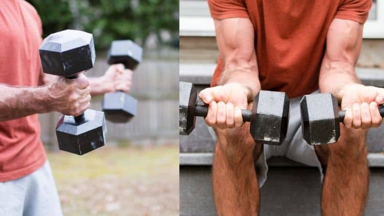 Man performing bicep and forearm exercise