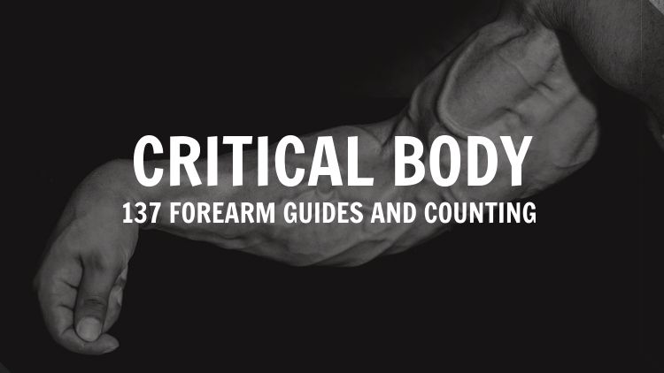Image of a forearm with the Critical Body logo edited on top