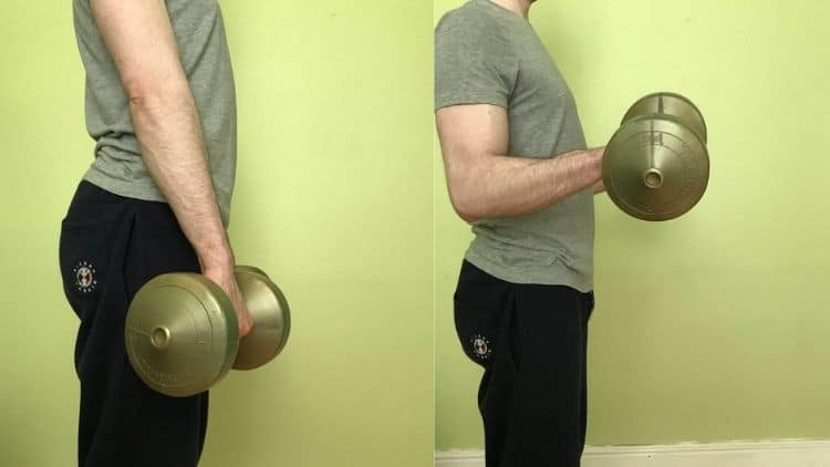 The start and end positions for the dumbbell reverse curl