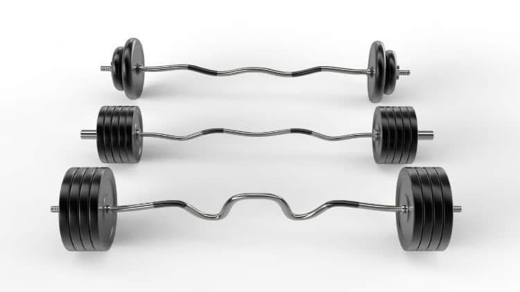 Three EZ curls bar of various weights