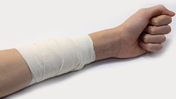 A white forearm bandage