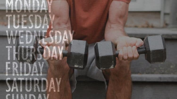 The days of the week overlayed on an image of a man training his forearms