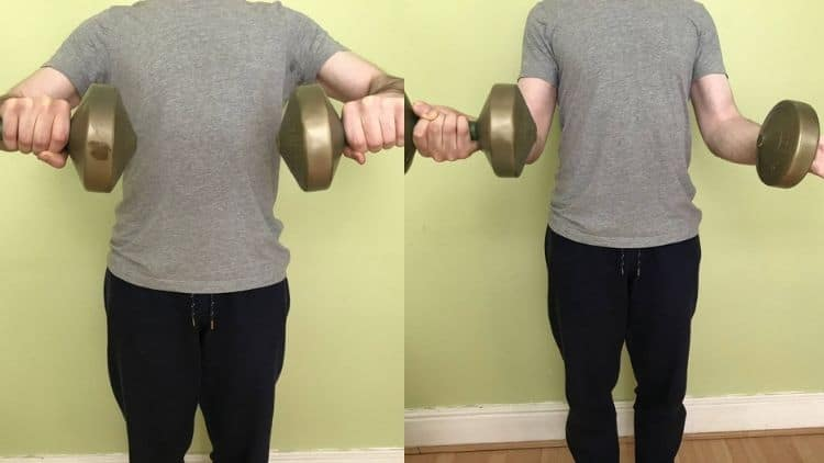 A demonstration of a forearm pronation and supination exercise