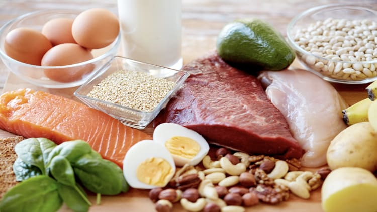 Spread of high protein foods including meat, fish, eggs and milk