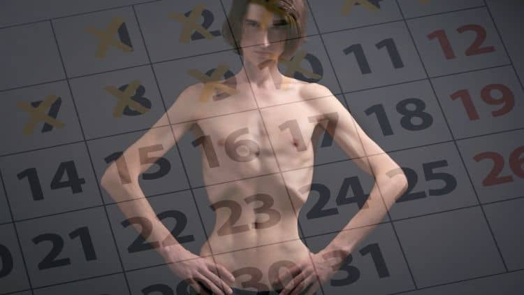 A skinny man with a calander overlayed on top