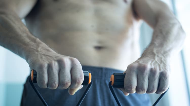Man holding some exercise bands