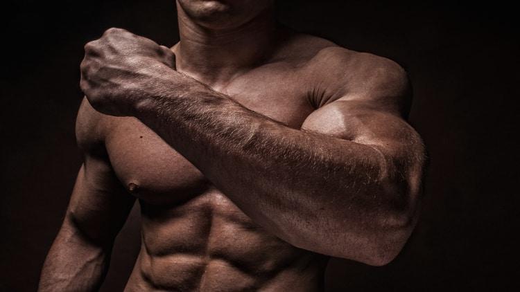 A bodybuilder's massive forearm