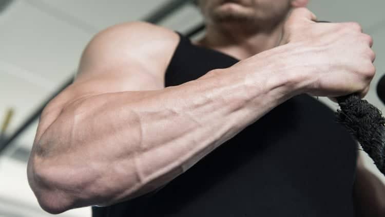 A man's muscular forearm