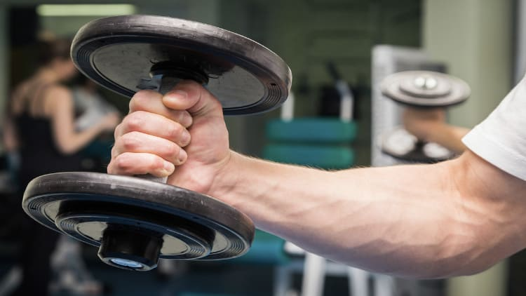 A man's muscular forearm holding onto a dumbbell