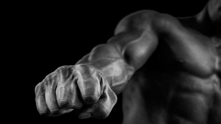 The fist of a muscular man