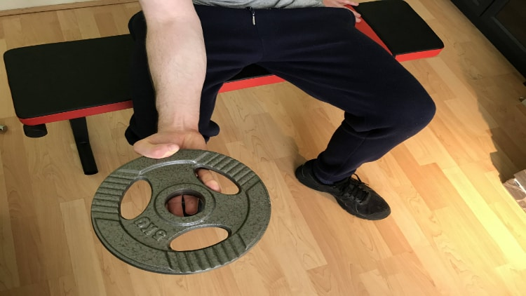 Person performing a plate forearm curl