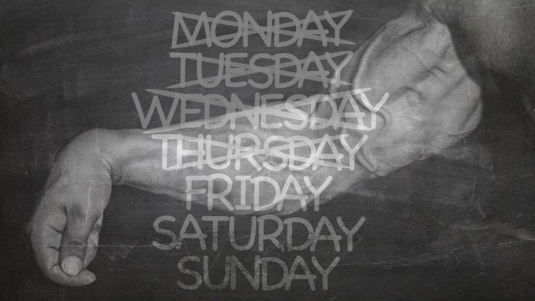 Image of very muscular forearms with the days of the week overlayed on top