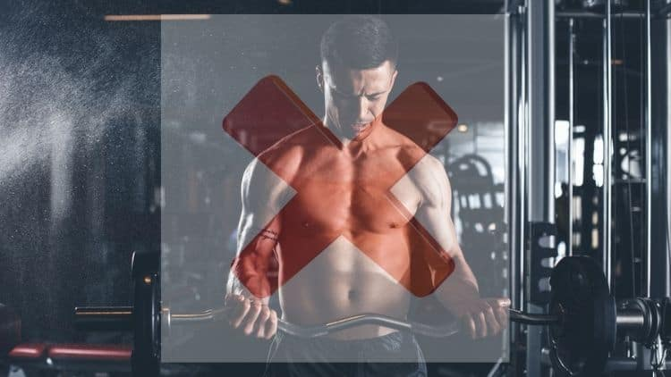 A man doing bicep curls with a red cross overlayed on top of the image