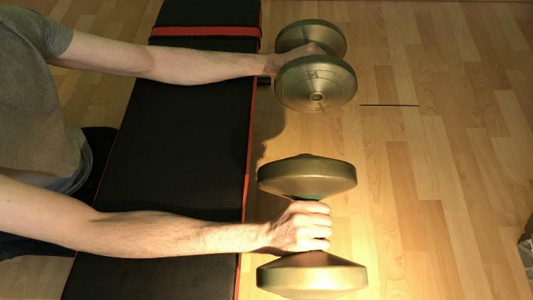 A man doing a reverse dumbbell wrist curl