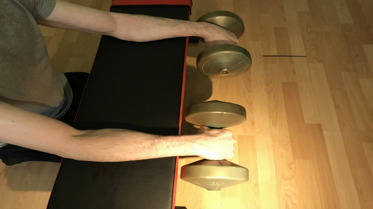 Man doing a reverse wrist curl with dumbbells