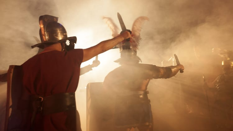 Roman soldiers attacking