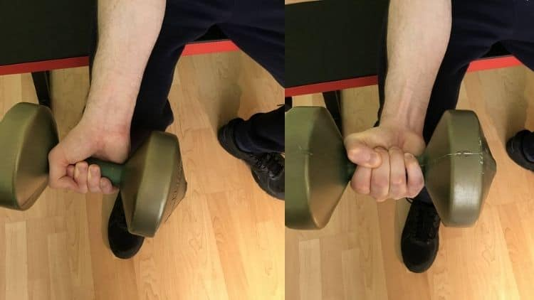 A demonstration of the correct single arm dumbbell wrist curl form