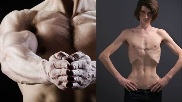 An image of a bodybuilder next to a scrawny man