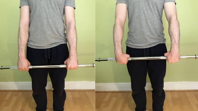 A demonstration of the standing forearm curl form