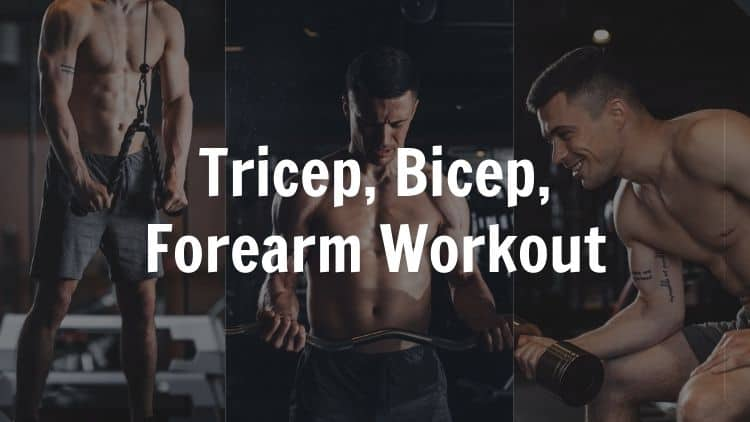 A tricep bicep forearm workout being performed in the gym