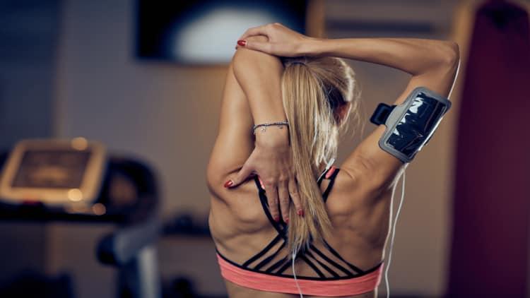 Woman stretching her trcieps