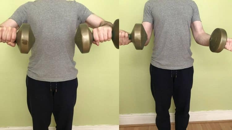 A demonstration of the dumbbell wrist twist exercise