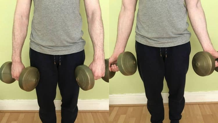 The start and end positions for the forearm twist exercise