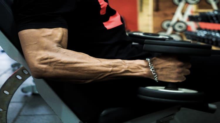 Vascular bodybuilder doing incline hammer curls