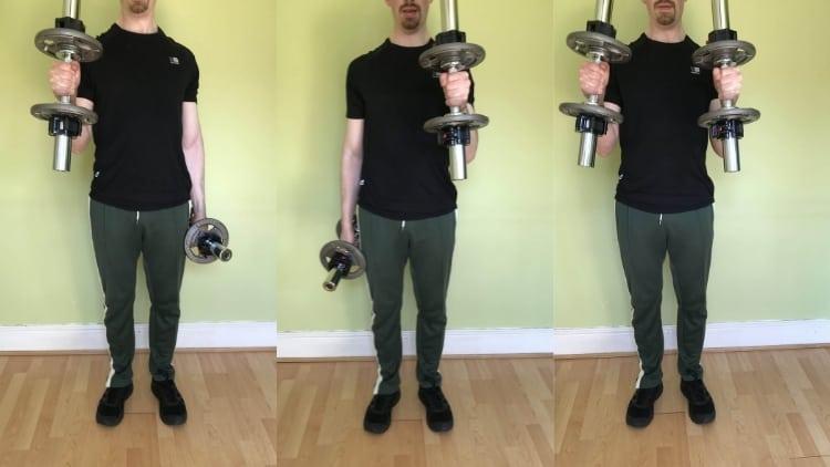 A man performing a 1 1 2 hammer curl