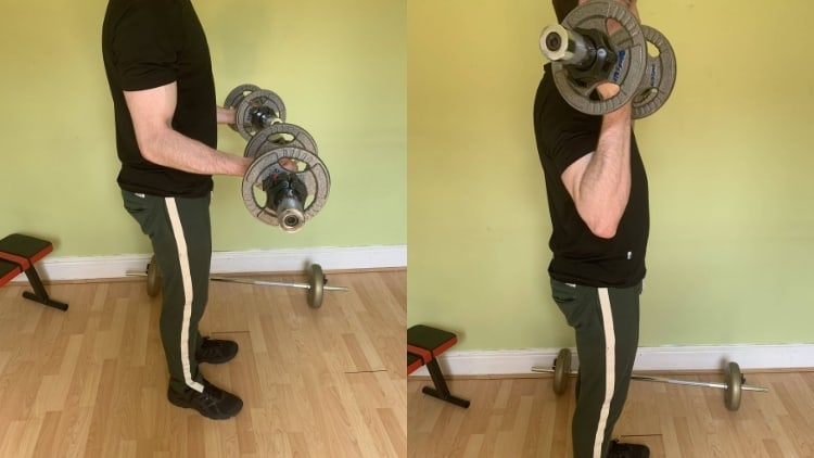 Man performing a 21s workout for his biceps with dumbbells