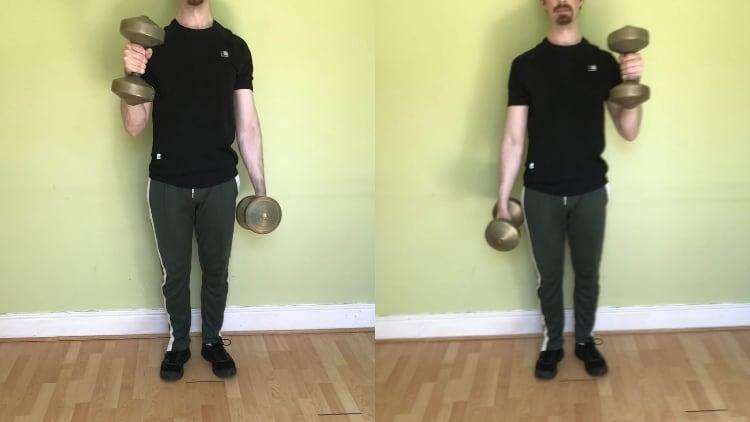 A man performing alternating hammer curls