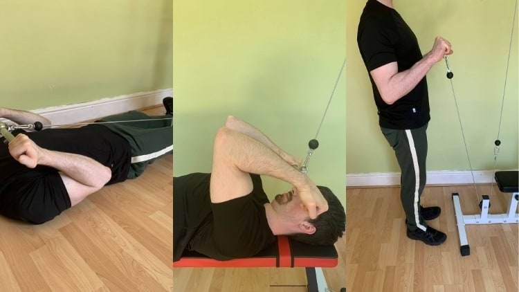 Man showing various alternative exercises to seated cable curls