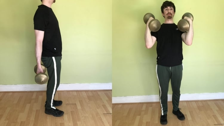 A man demonstrating a common arm curls mistake