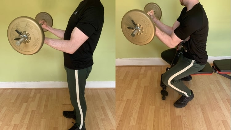A man doing various exercises during his barbell bicep workout