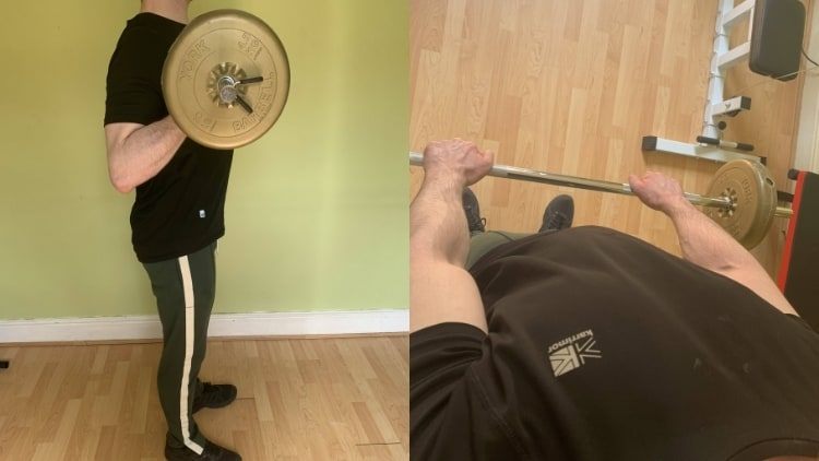 A man performing a barbell biceps workout