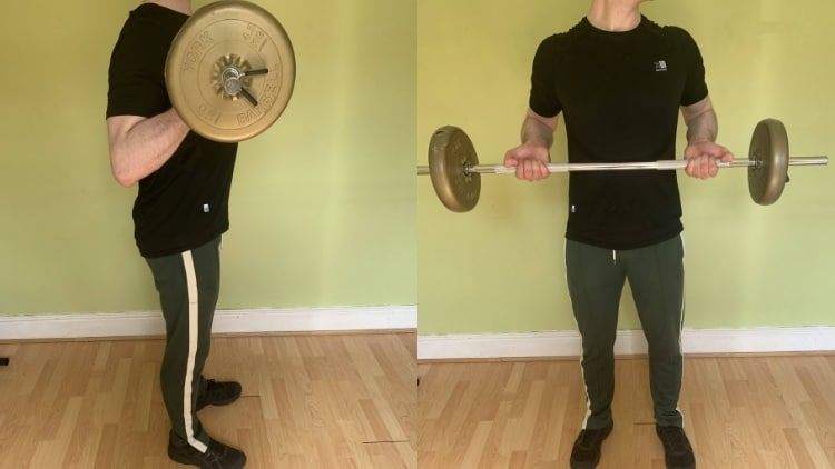 A man doing barbell drag curls for his biceps