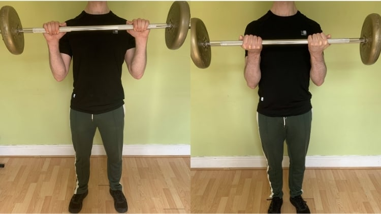 A man doing some barbell exercises for his biceps