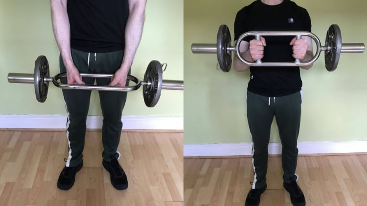A man performing a barbell hammer curl