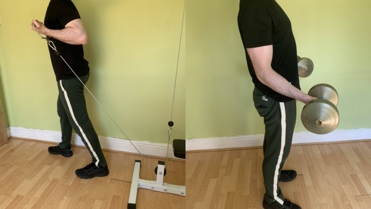 Man performing a bayesian curl and a regular bicep curl