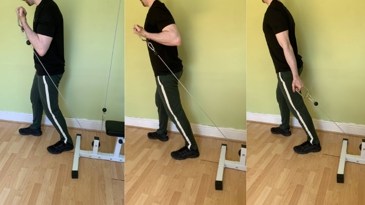 Image showing how to perform a behind the back cable curl correctly
