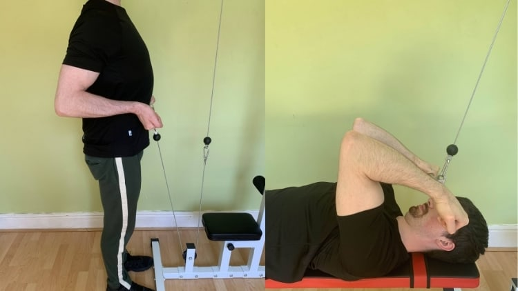 A man demonstrating some alternatives to the behind the neck cable curl