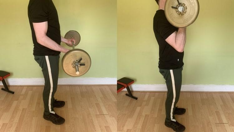 Man performing bicep 21s