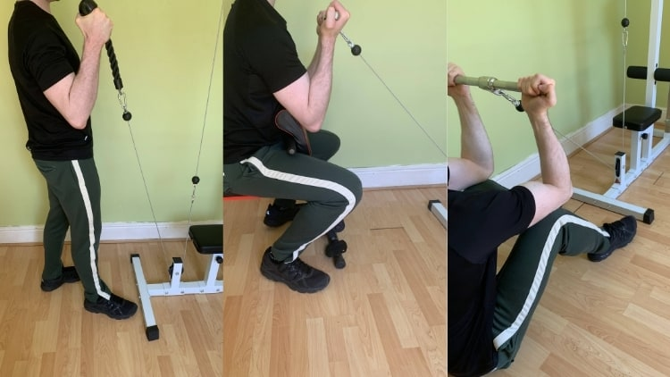Man demonstrating the variations of bicep cable curls
