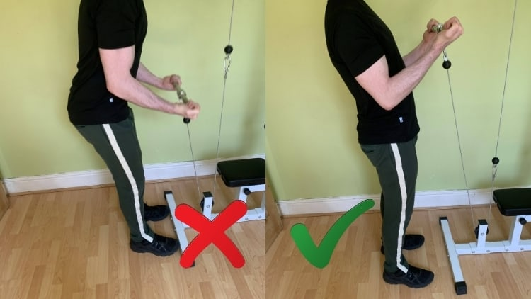 Man performing some bicep cable exercises
