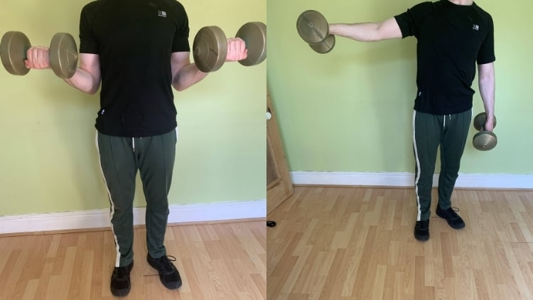 A man doing a bicep curl to lateral raise